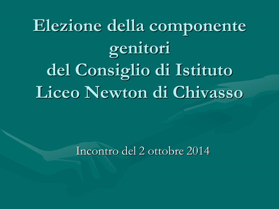 Elezione della componente genitori del Consiglio di Istituto Liceo Newton di Chivasso