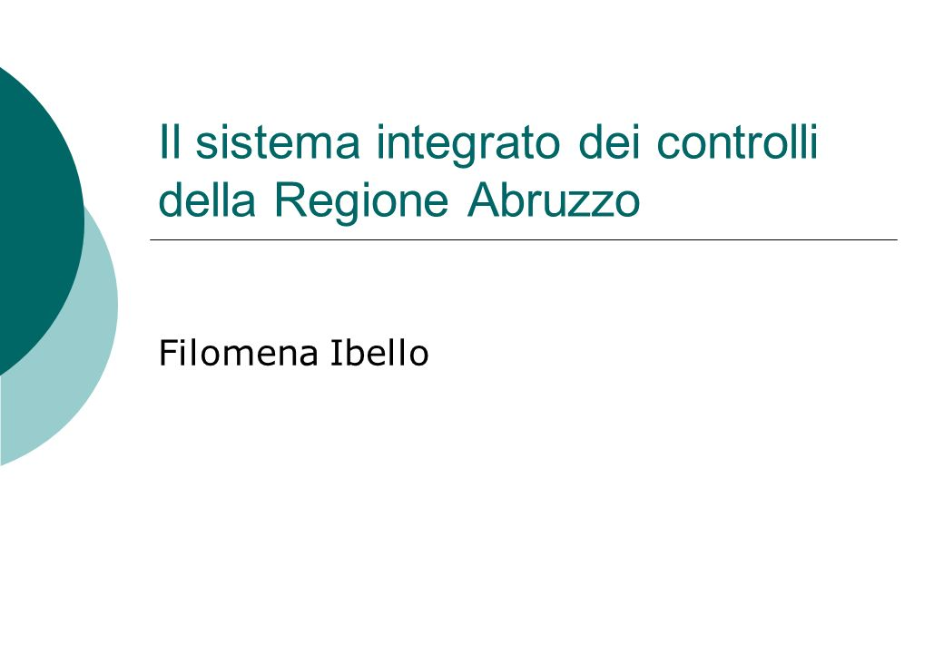 Il sistema integrato dei controlli della Regione Abruzzo