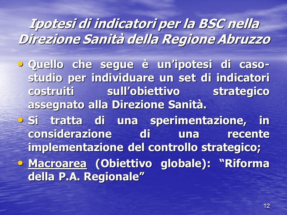 Ipotesi di indicatori per la BSC nella Direzione Sanità della Regione Abruzzo