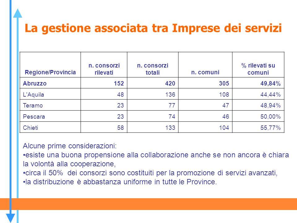 La gestione associata tra Imprese dei servizi