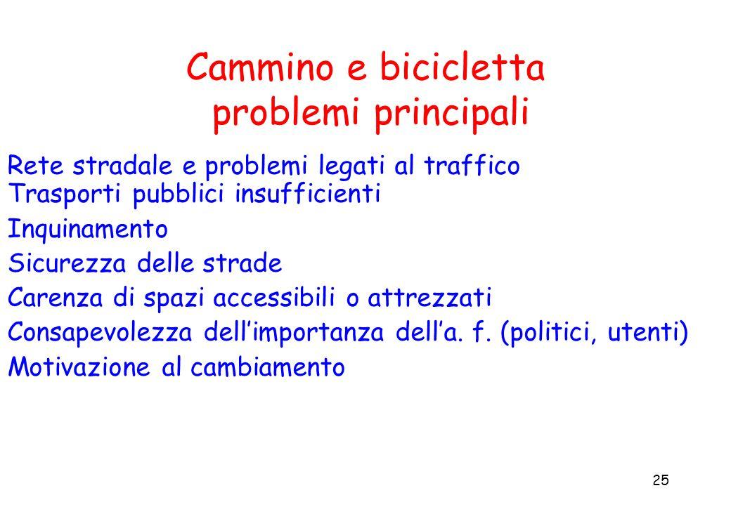 Cammino e bicicletta problemi principali