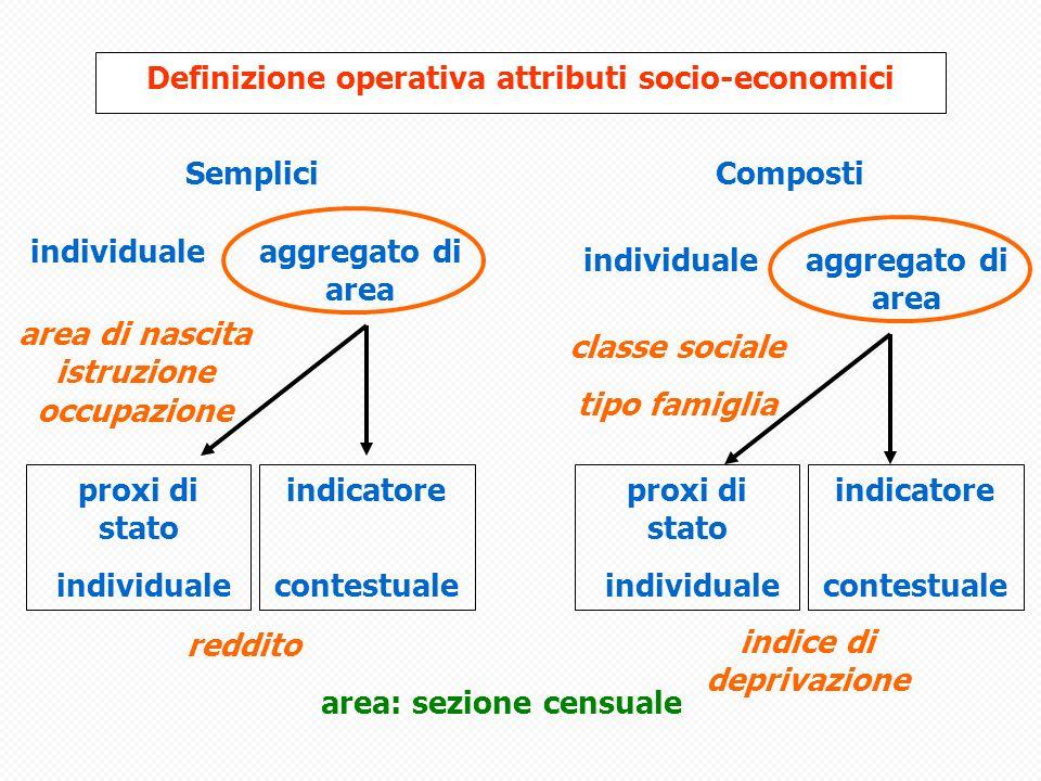 Definizione operativa attributi socio-economici