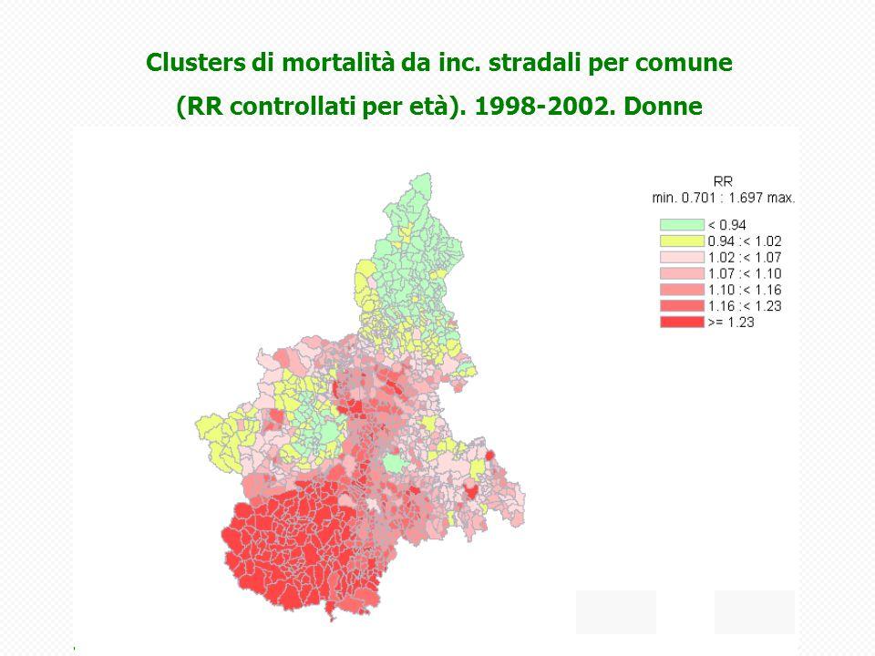 Clusters di mortalità da inc. stradali per comune