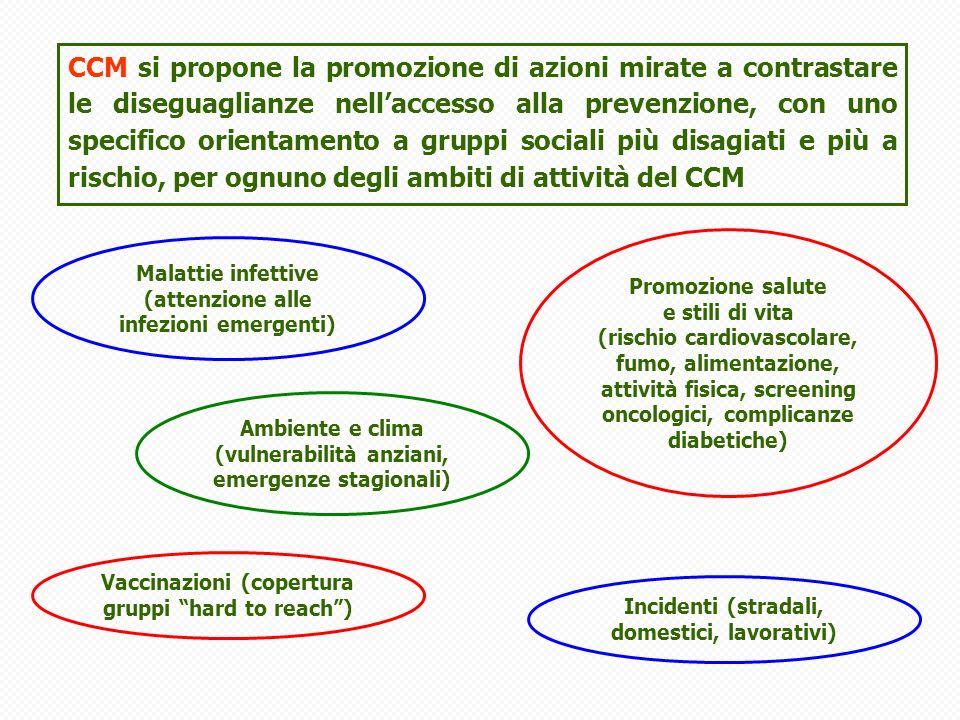 CCM si propone la promozione di azioni mirate a contrastare le diseguaglianze nell'accesso alla prevenzione, con uno specifico orientamento a gruppi sociali più disagiati e più a rischio, per ognuno degli ambiti di attività del CCM