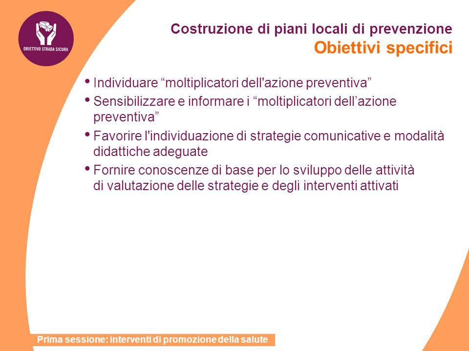 Costruzione di piani locali di prevenzione Obiettivi specifici