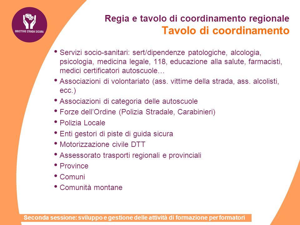 Regia e tavolo di coordinamento regionale Tavolo di coordinamento