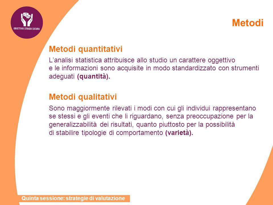 Metodi Metodi quantitativi Metodi qualitativi