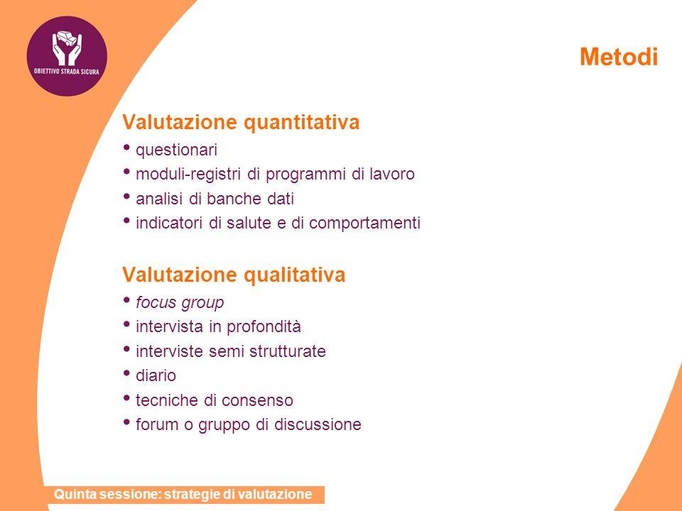 Metodi Valutazione quantitativa Valutazione qualitativa questionari