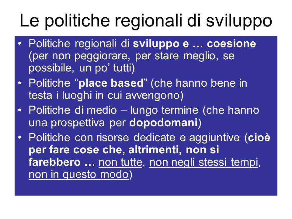 Le politiche regionali di sviluppo