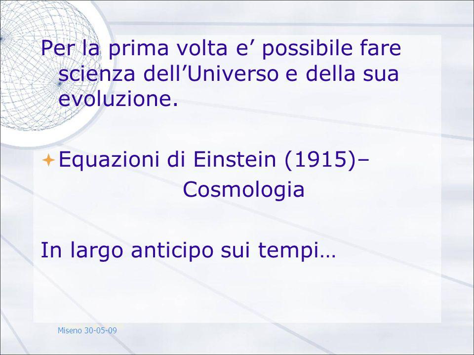Equazioni di Einstein (1915)– Cosmologia In largo anticipo sui tempi…