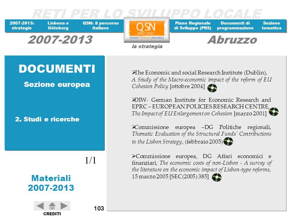DOCUMENTI 1/1 Sezione europea 2. Studi e ricerche