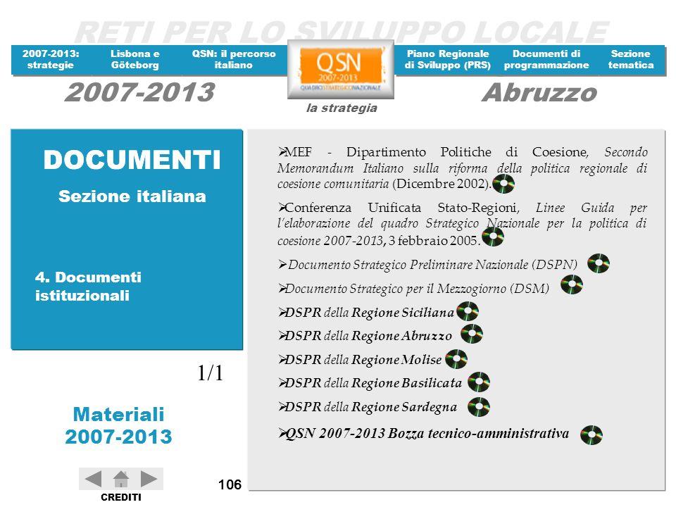 DOCUMENTI DOCUMENTI 1/1 Sezione italiana 4. Documenti istituzionali