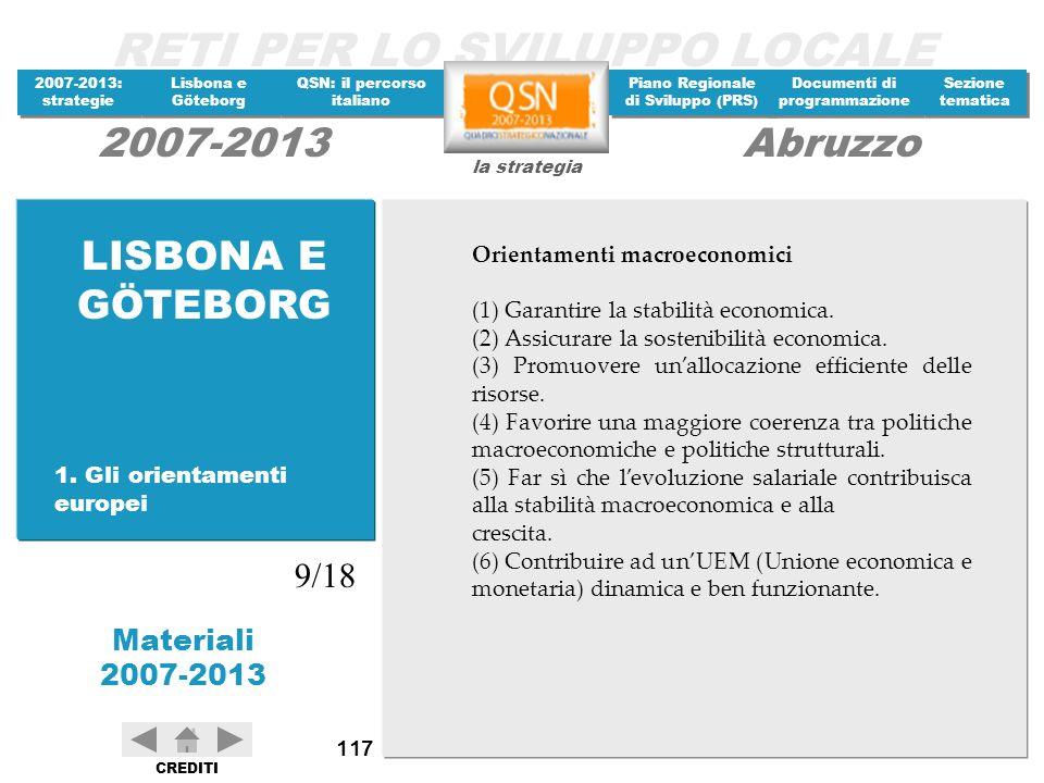 LISBONA E GÖTEBORG 9/18 Orientamenti macroeconomici
