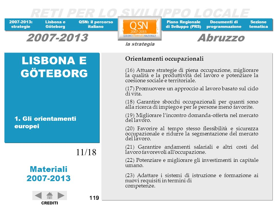 LISBONA E GÖTEBORG 11/18 Orientamenti occupazionali