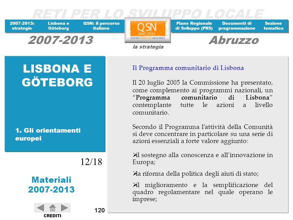 LISBONA E GÖTEBORG 12/18 Il Programma comunitario di Lisbona