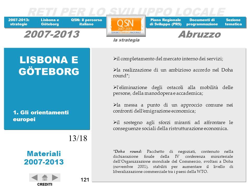 LISBONA E GÖTEBORG 13/18 1. Gli orientamenti europei