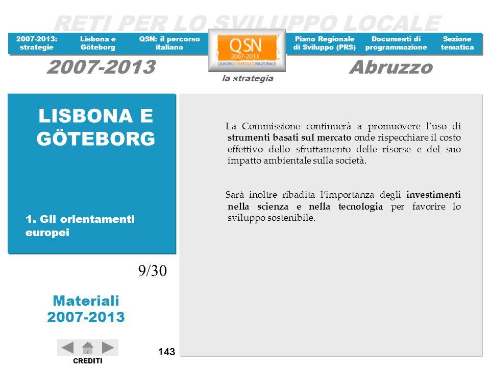 LISBONA E GÖTEBORG 9/30 1. Gli orientamenti europei