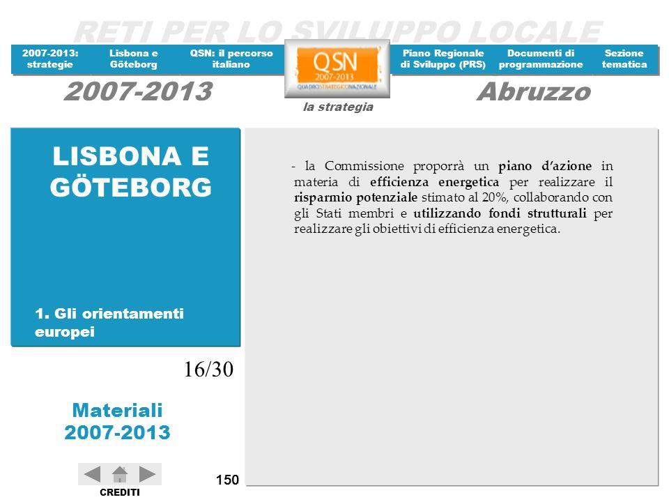 LISBONA E GÖTEBORG 16/30 1. Gli orientamenti europei