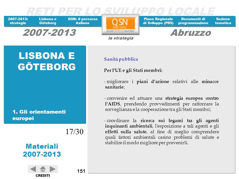 LISBONA E GÖTEBORG 17/30 1. Gli orientamenti europei Sanità pubblica