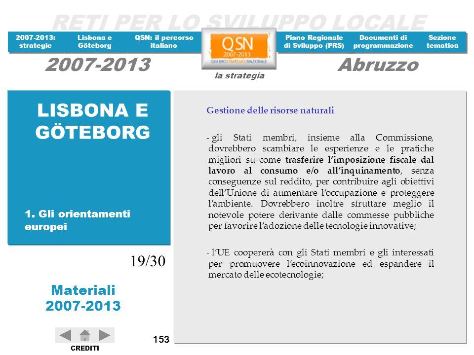 LISBONA E GÖTEBORG 19/30 1. Gli orientamenti europei