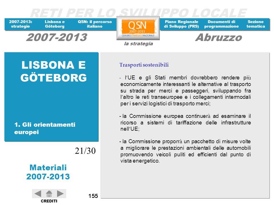 LISBONA E GÖTEBORG 21/30 1. Gli orientamenti europei