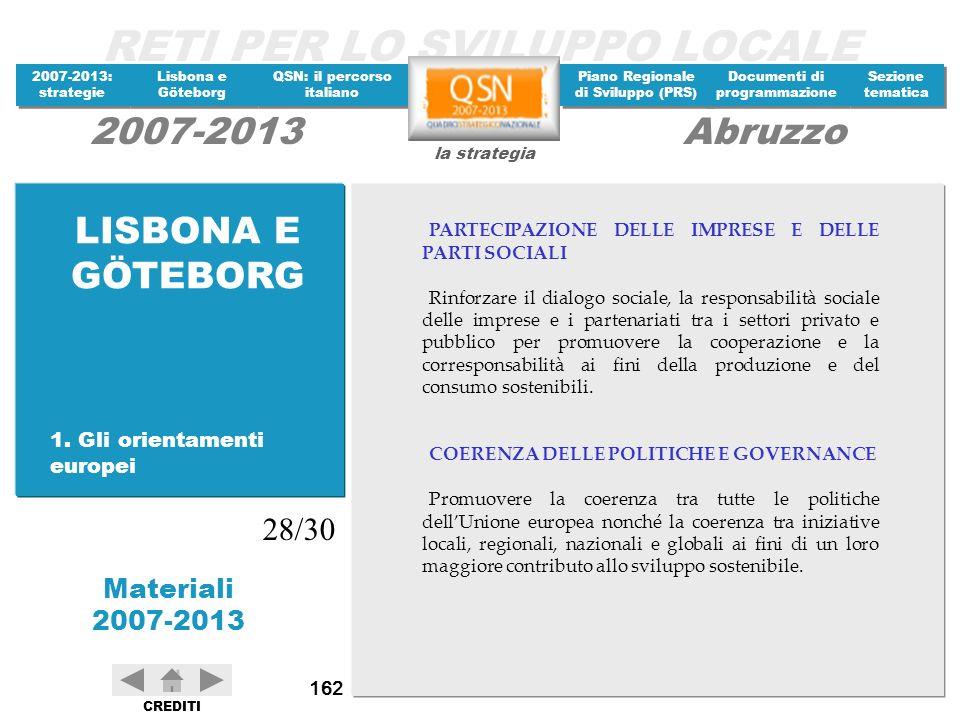 LISBONA E GÖTEBORG 28/30 1. Gli orientamenti europei