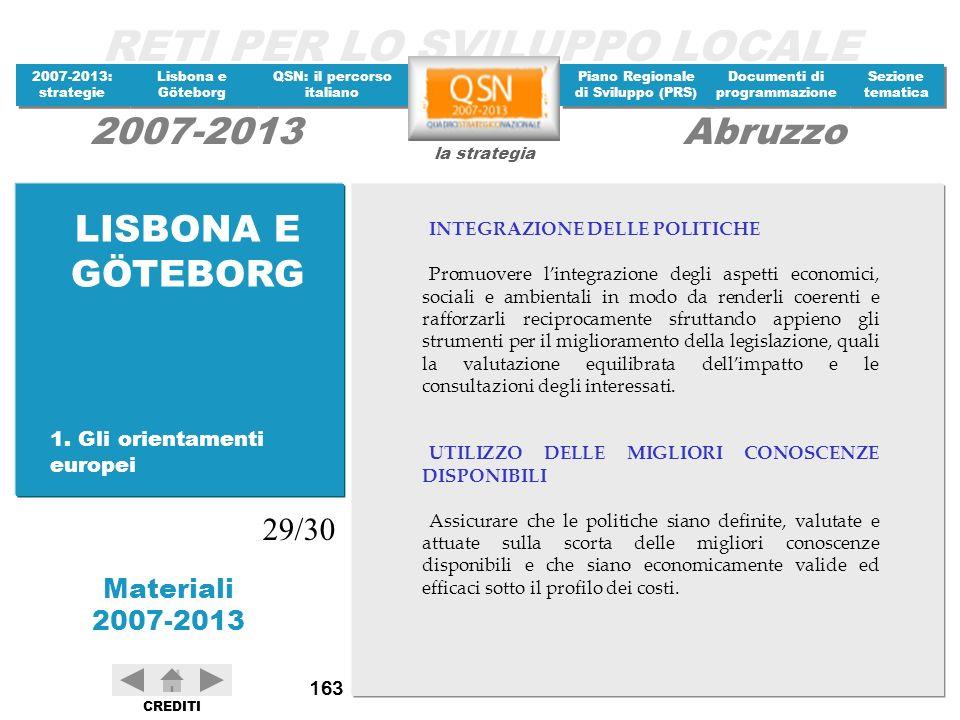 LISBONA E GÖTEBORG 29/30 1. Gli orientamenti europei