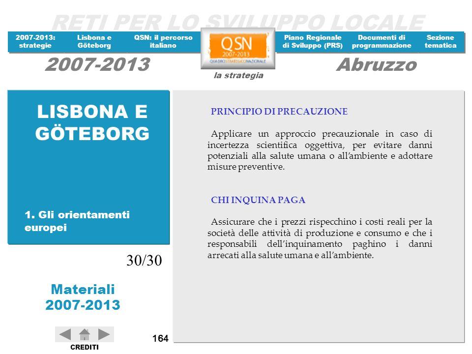 LISBONA E GÖTEBORG 30/30 1. Gli orientamenti europei