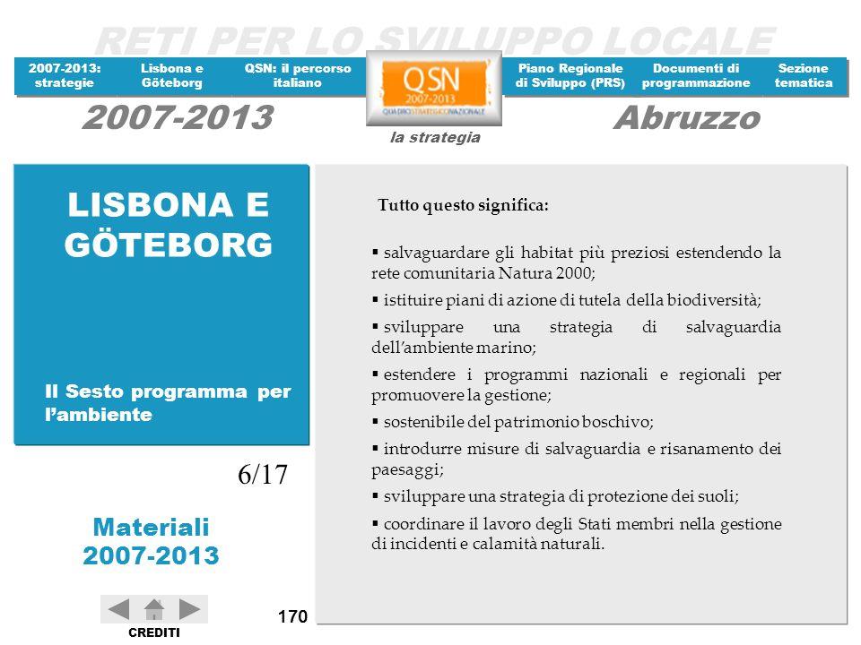 LISBONA E GÖTEBORG 6/17 Il Sesto programma per l'ambiente