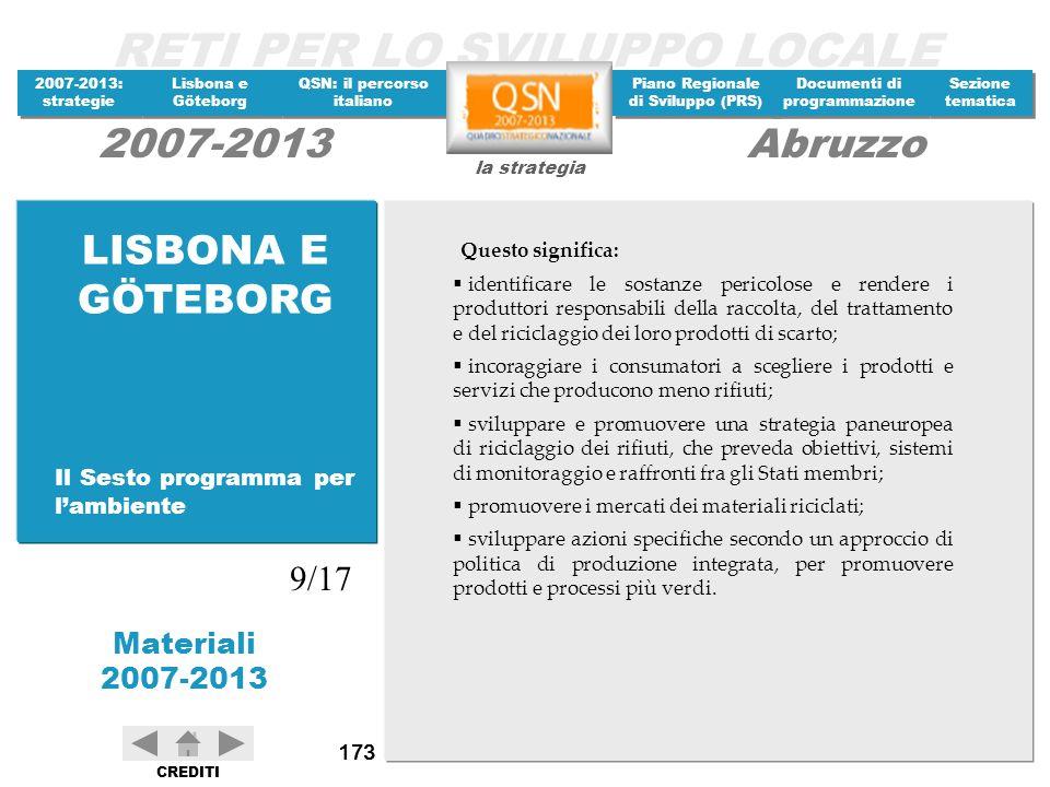 LISBONA E GÖTEBORG 9/17 Il Sesto programma per l'ambiente