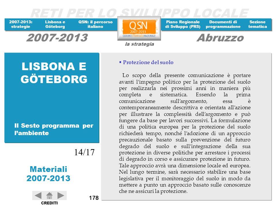 LISBONA E GÖTEBORG 14/17 Il Sesto programma per l'ambiente