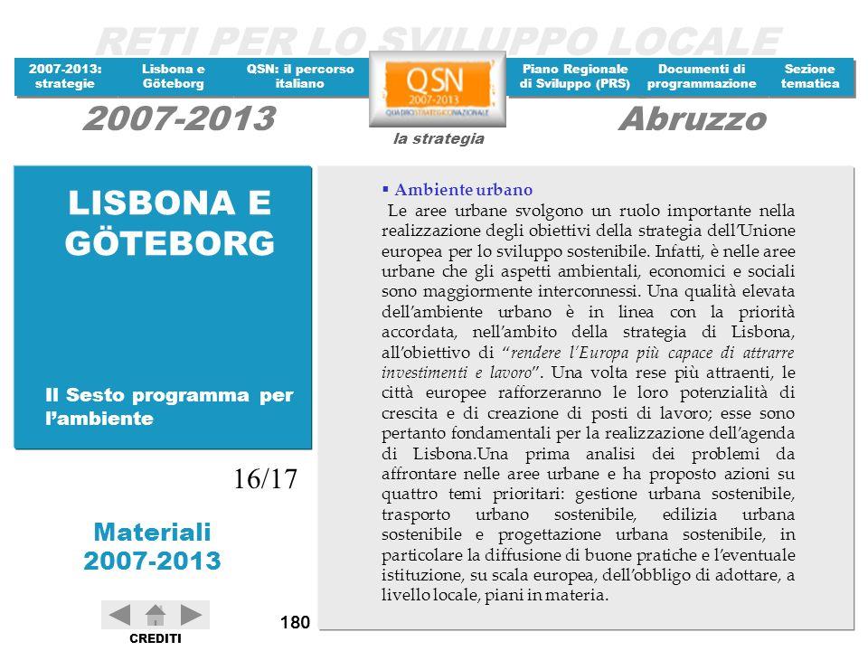LISBONA E GÖTEBORG 16/17 Il Sesto programma per l'ambiente