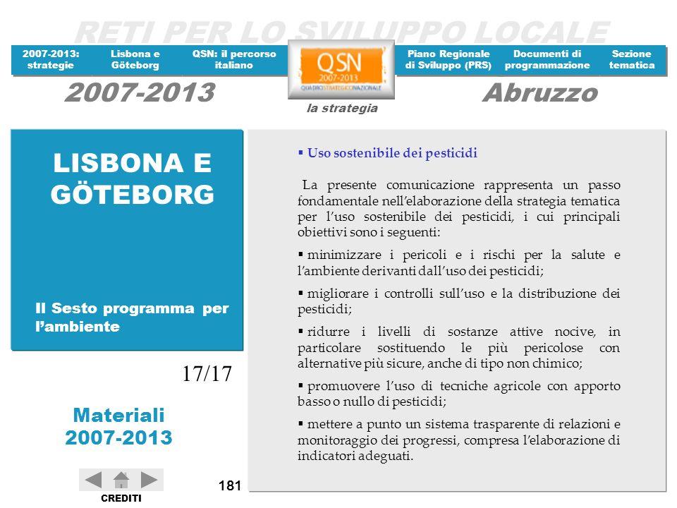 LISBONA E GÖTEBORG 17/17 Il Sesto programma per l'ambiente