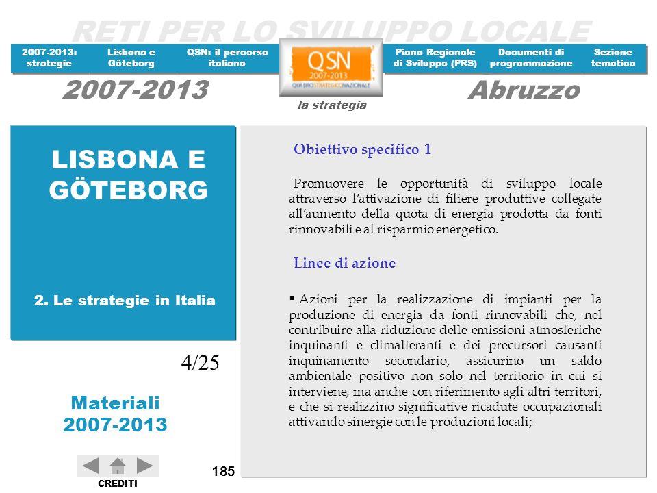 LISBONA E GÖTEBORG 4/25 Obiettivo specifico 1 Linee di azione