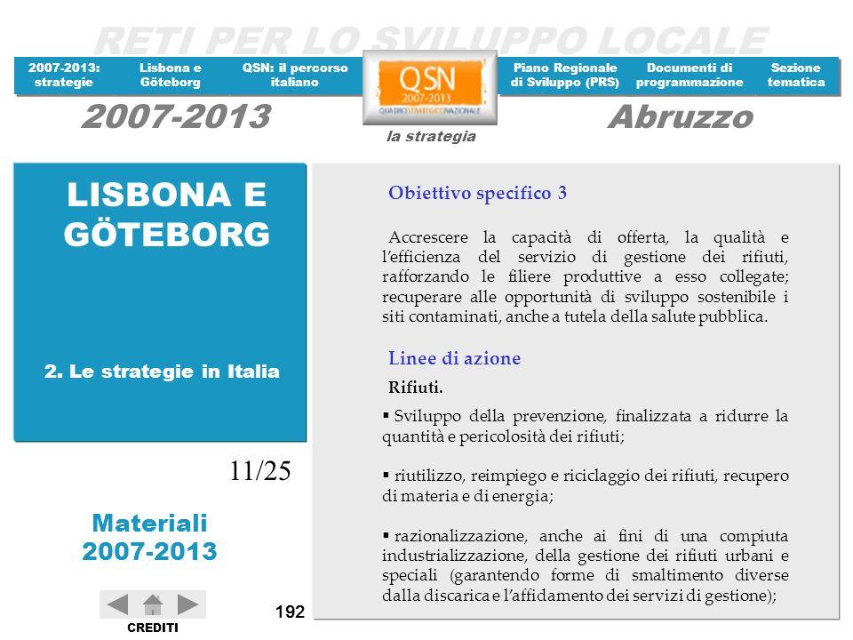 LISBONA E GÖTEBORG 11/25 Obiettivo specifico 3 Linee di azione