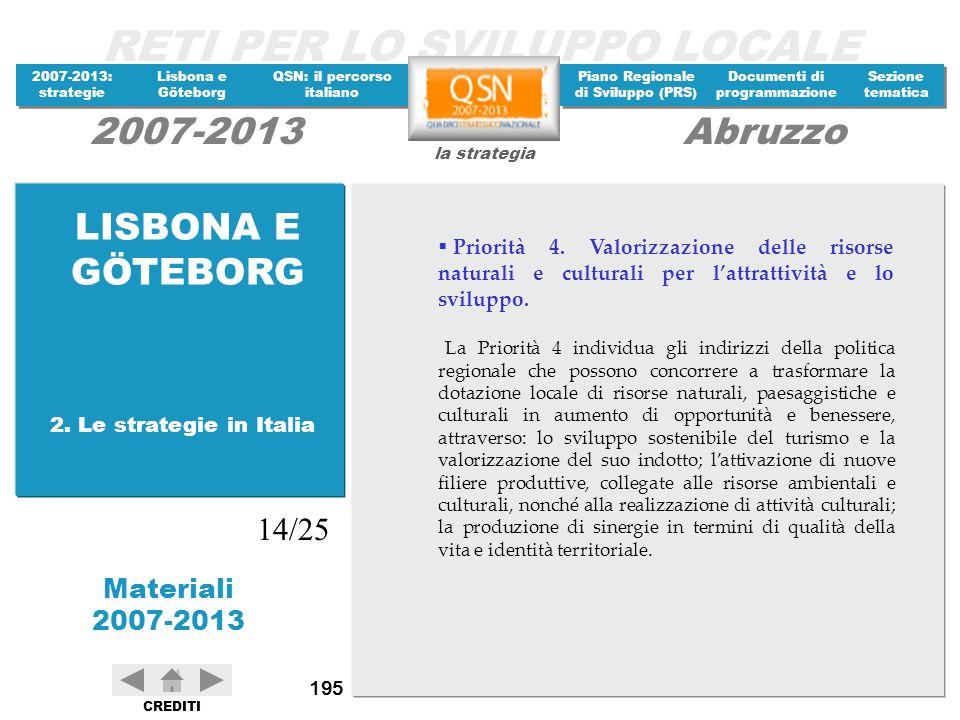 LISBONA E GÖTEBORG Priorità 4. Valorizzazione delle risorse naturali e culturali per l'attrattività e lo sviluppo.