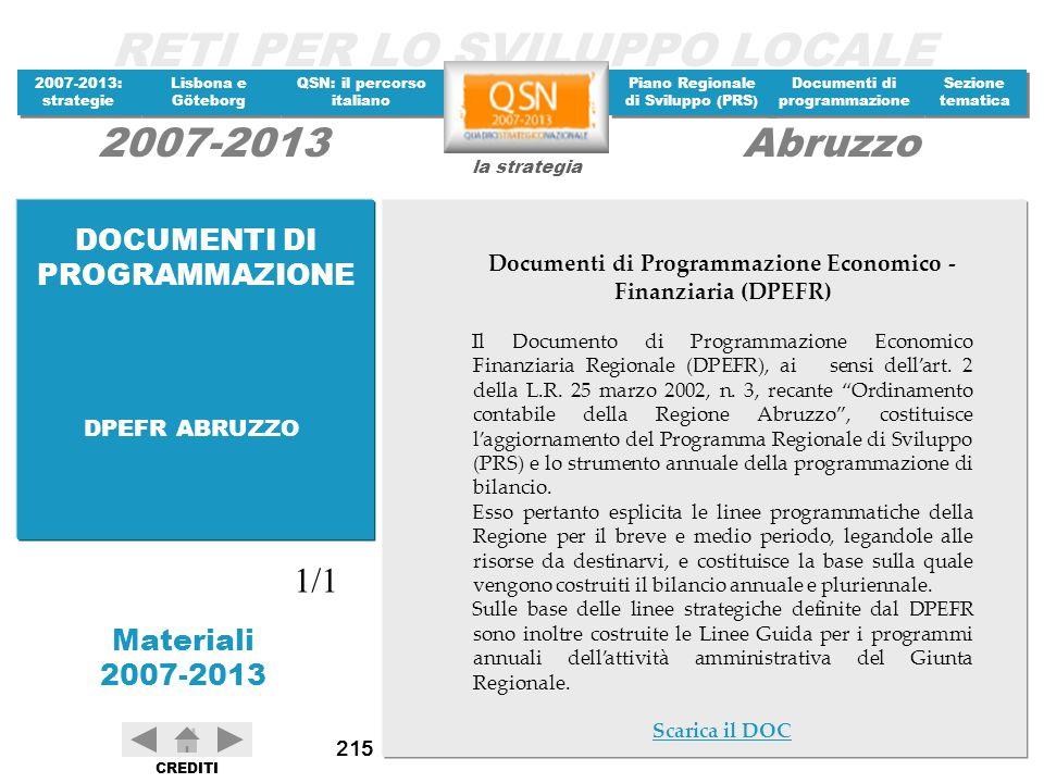 Documenti di Programmazione Economico - Finanziaria (DPEFR)