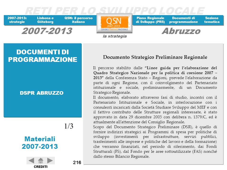 Documento Strategico Preliminare Regionale