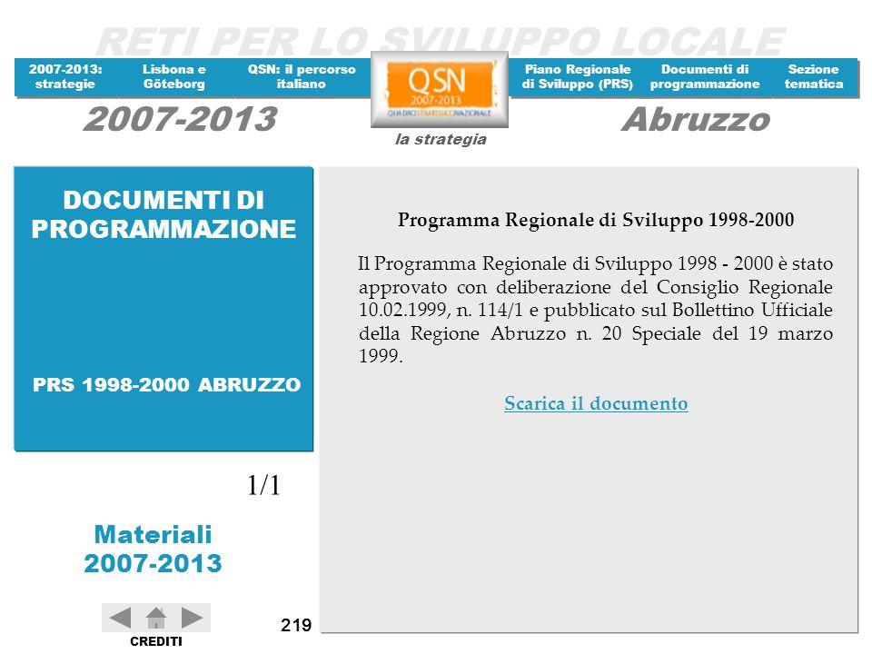 Programma Regionale di Sviluppo 1998-2000