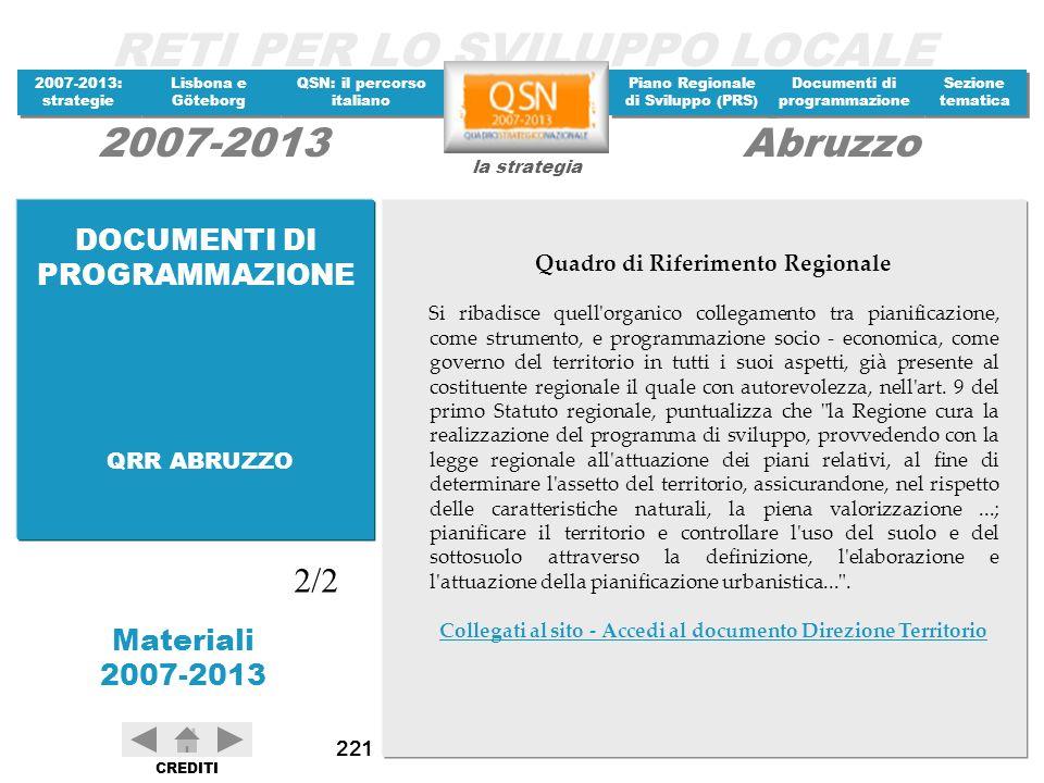 2/2 DOCUMENTI DI PROGRAMMAZIONE Quadro di Riferimento Regionale