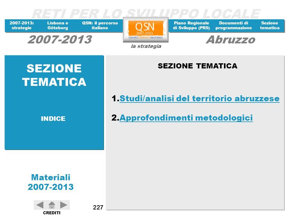 SEZIONE TEMATICA Studi/analisi del territorio abruzzese