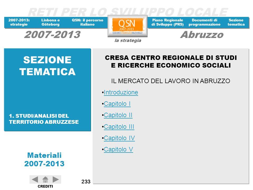 SEZIONE TEMATICA CRESA CENTRO REGIONALE DI STUDI E RICERCHE ECONOMICO SOCIALI. IL MERCATO DEL LAVORO IN ABRUZZO.