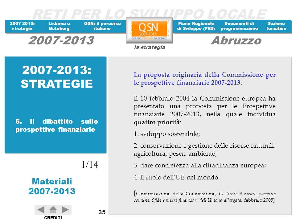 2007-2013: STRATEGIE La proposta originaria della Commissione per le prospettive finanziarie 2007-2013.