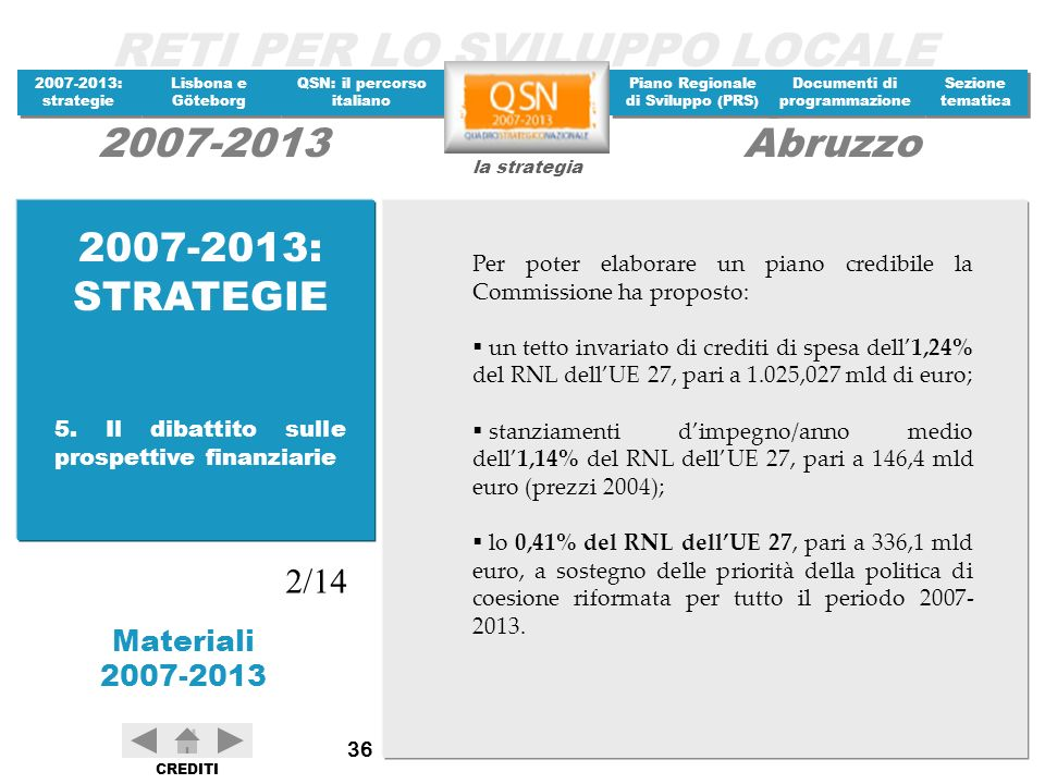 2007-2013: STRATEGIE Per poter elaborare un piano credibile la Commissione ha proposto: