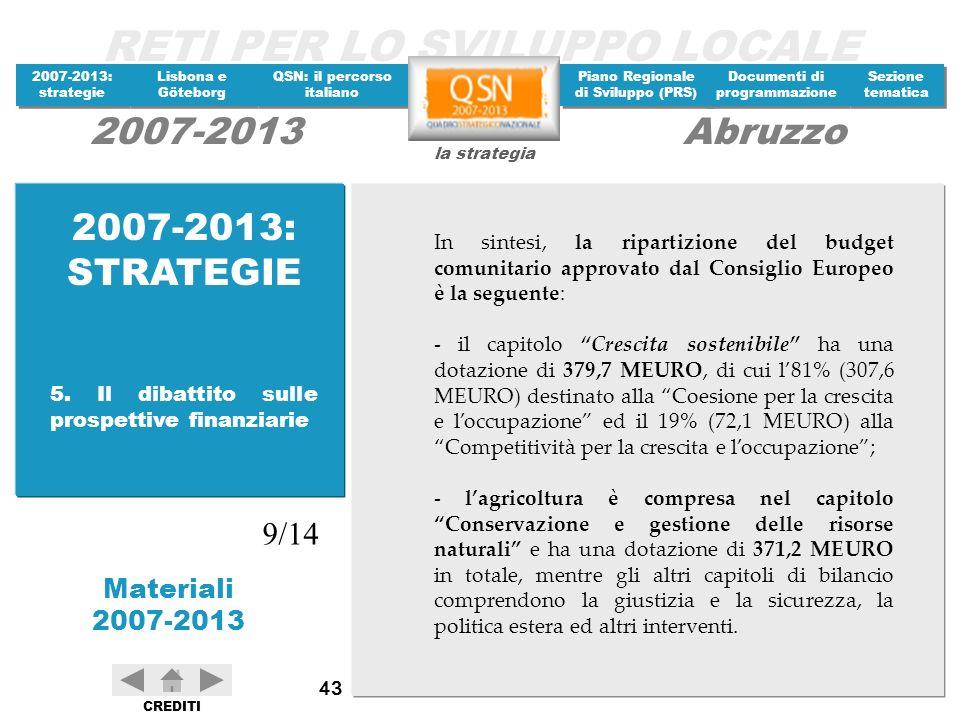 2007-2013: STRATEGIE In sintesi, la ripartizione del budget comunitario approvato dal Consiglio Europeo è la seguente: