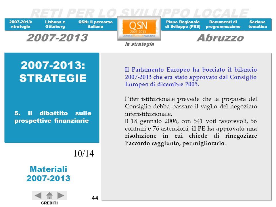 2007-2013: STRATEGIE Il Parlamento Europeo ha bocciato il bilancio 2007-2013 che era stato approvato dal Consiglio Europeo di dicembre 2005.