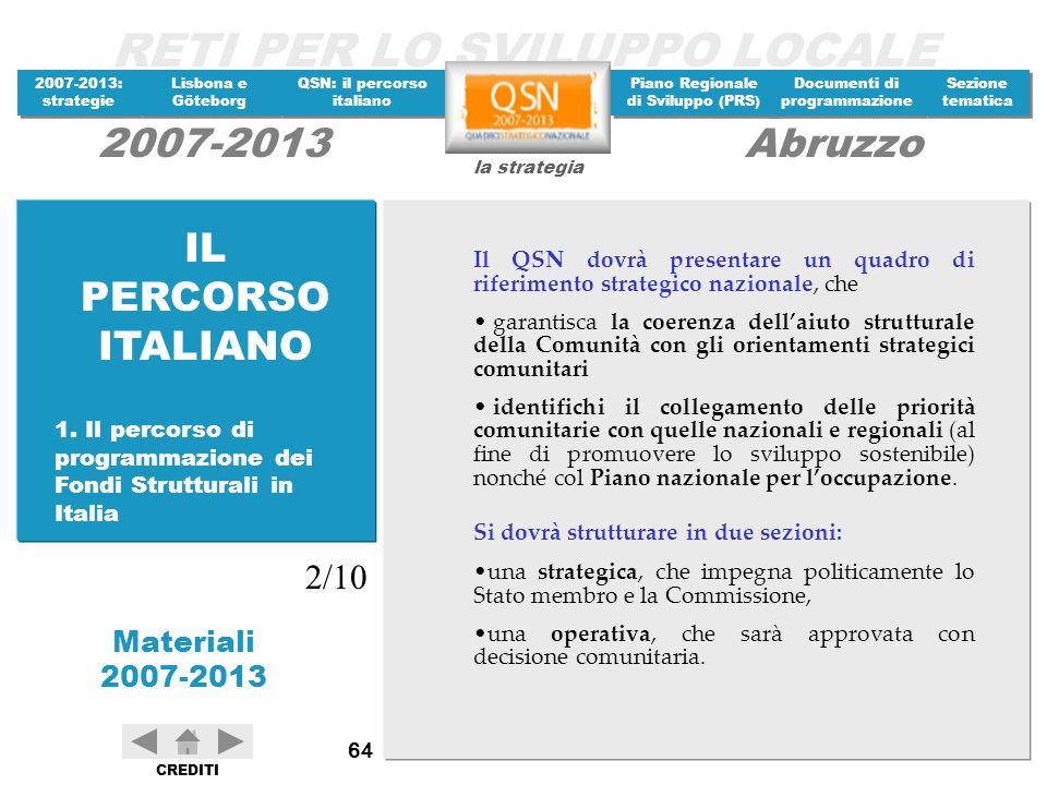 IL PERCORSO ITALIANO Il QSN dovrà presentare un quadro di riferimento strategico nazionale, che.