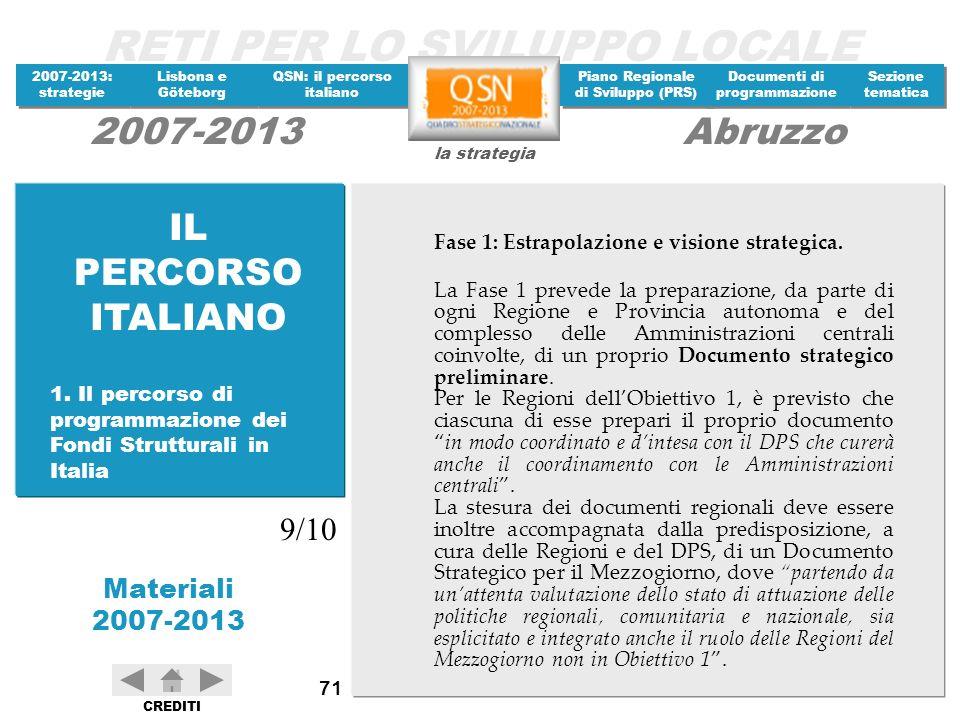 IL PERCORSO ITALIANO 9/10 Fase 1: Estrapolazione e visione strategica.