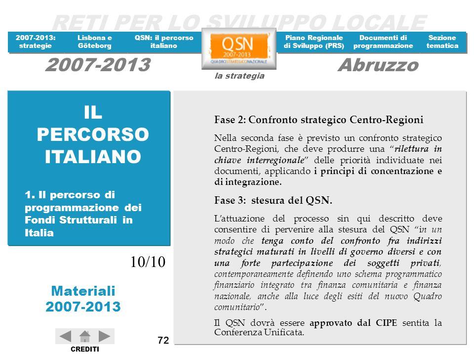 IL PERCORSO ITALIANO 10/10 Fase 2: Confronto strategico Centro-Regioni