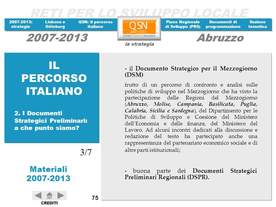 IL PERCORSO ITALIANO - il Documento Strategico per il Mezzogiorno (DSM)